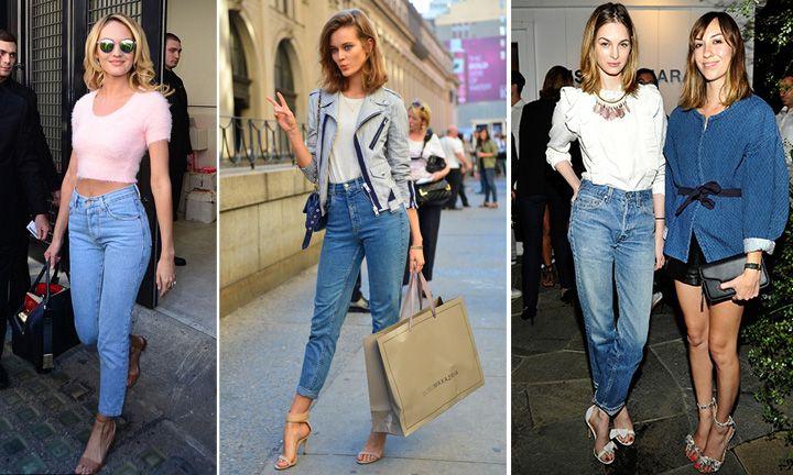 С чем носить джинсы фасона mom, фото стильных образов