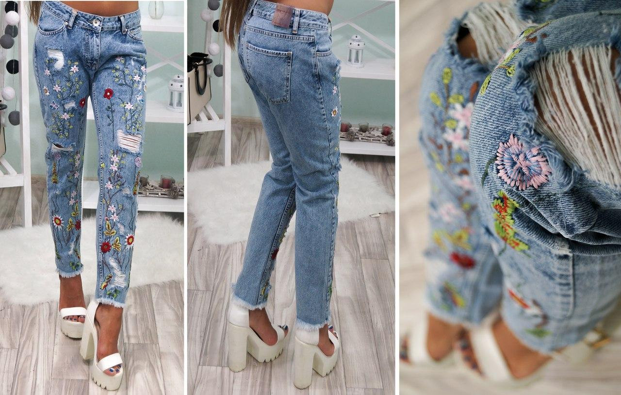 Модные джинсы с вышитыми узорами 2019, фото