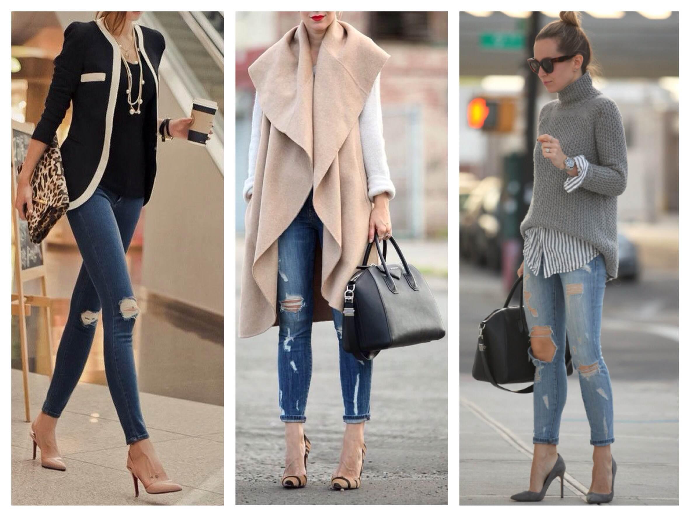 Как носить джинсы под каблуки, фото стильных образов