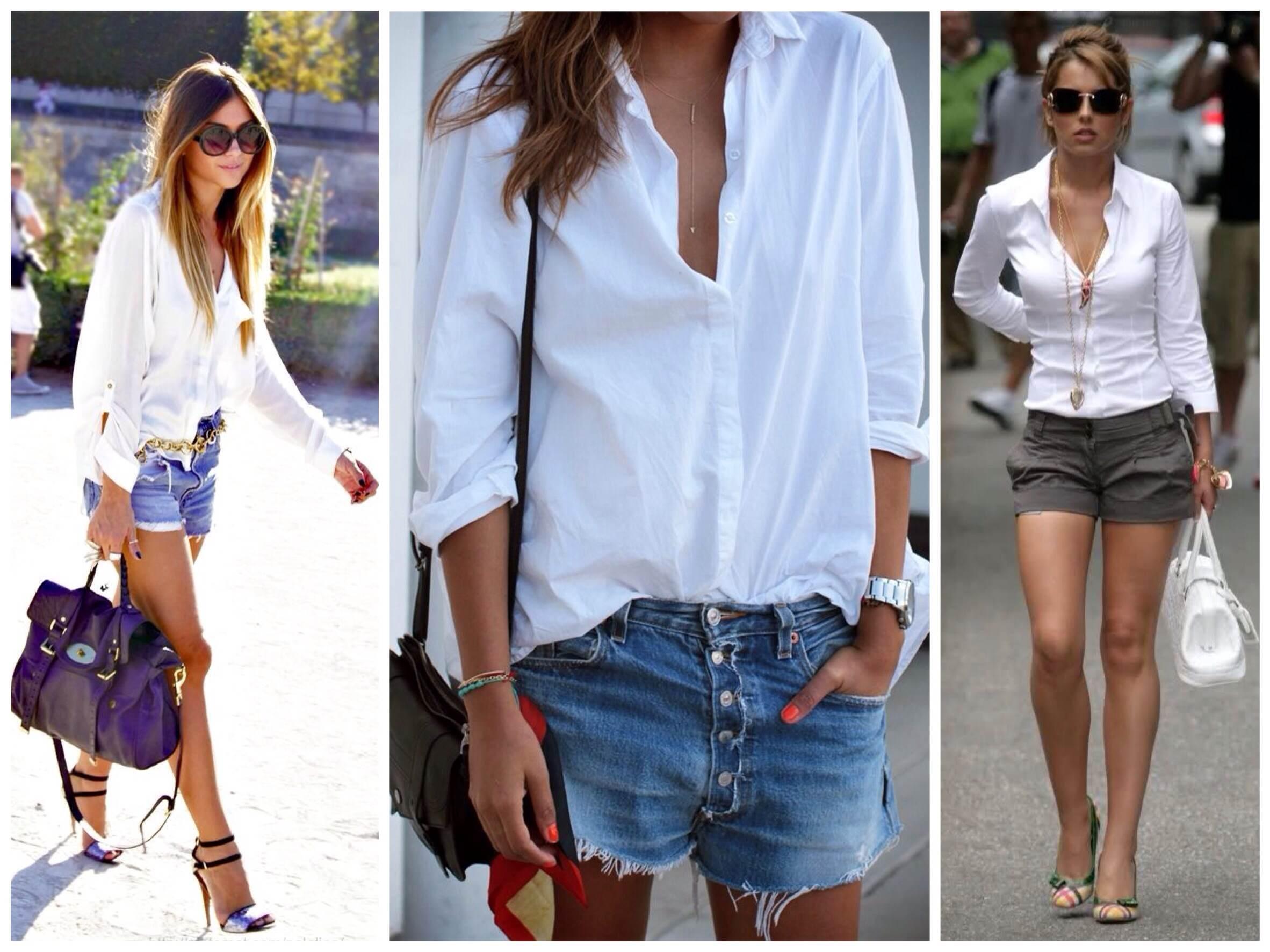 Как носить шорты с рубашкой, фото стильных образов для девушек
