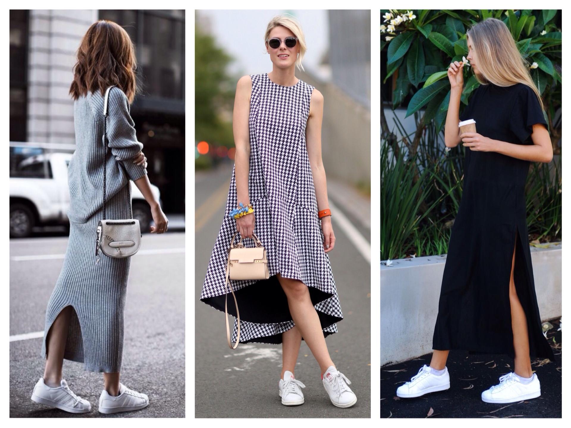 Как носить платье под кроссовки, стильные образы на фото