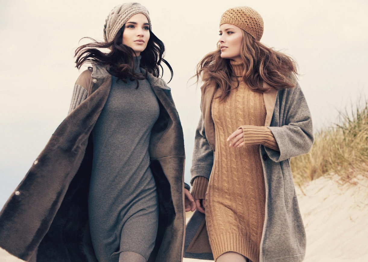 Создать уютный образ зимой с теплым платьем