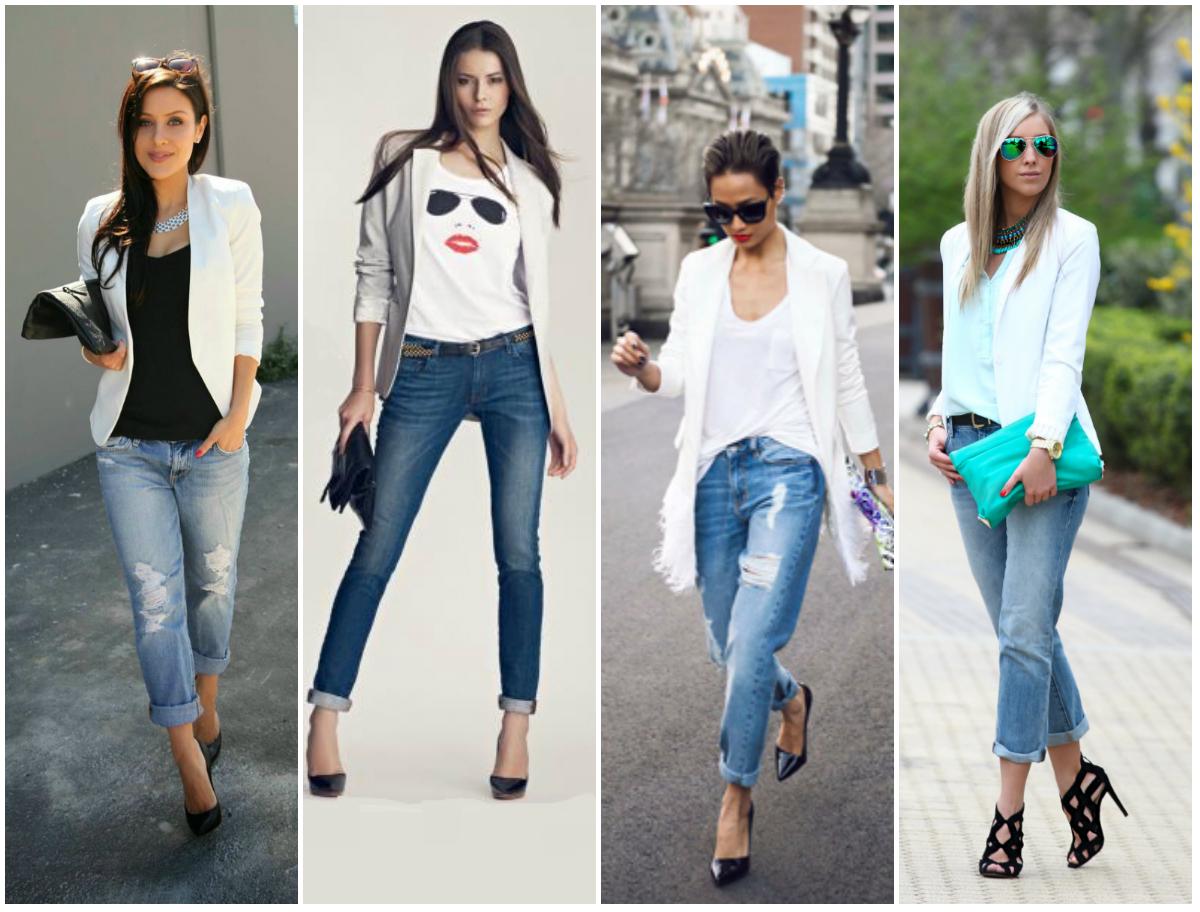 С чем носить женский белый пиджак, фото модных образов