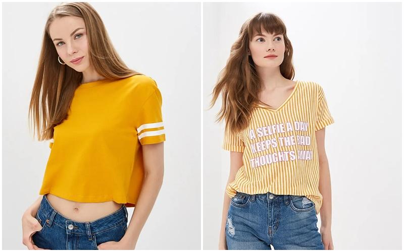 Модные женские футболки желтого цвета на 2019 год