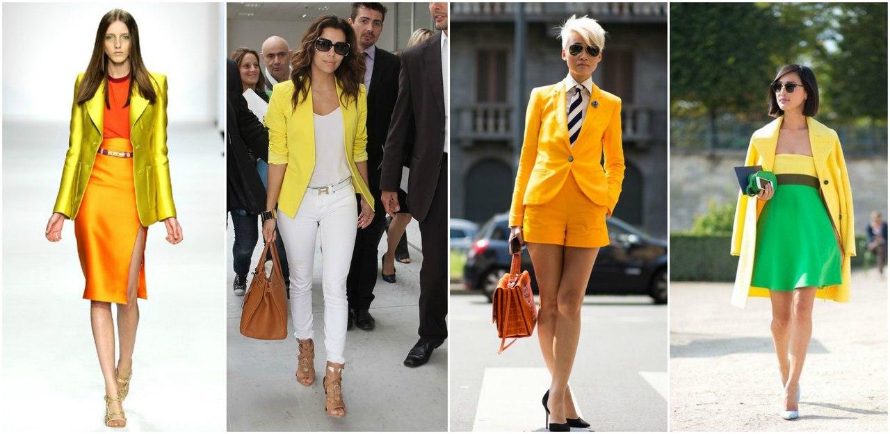 С чем носить желтый пиджак, красивые образы для девушек