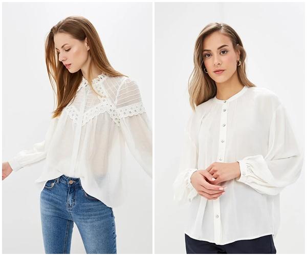 Модная блузка с воротником-стойкой 2019, фото
