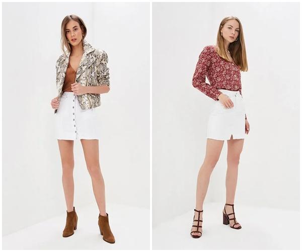 Джинсовая юбка белого цвета — хит лета 2019