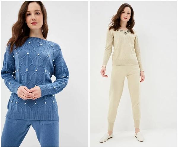Модные женские вязанные костюмы осень-зима 2019-2020, фото