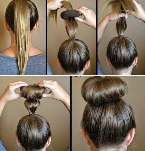 Как сделать пучок на волосах