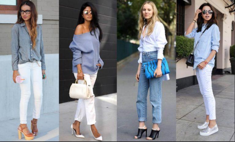 С чем носят светло-синие джинсы