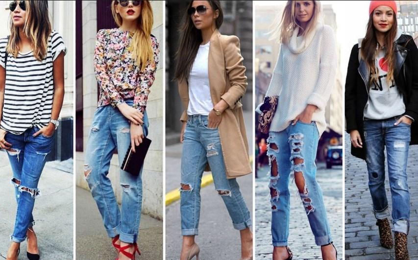 С чем носить рваные джинсы: модные образы и фото